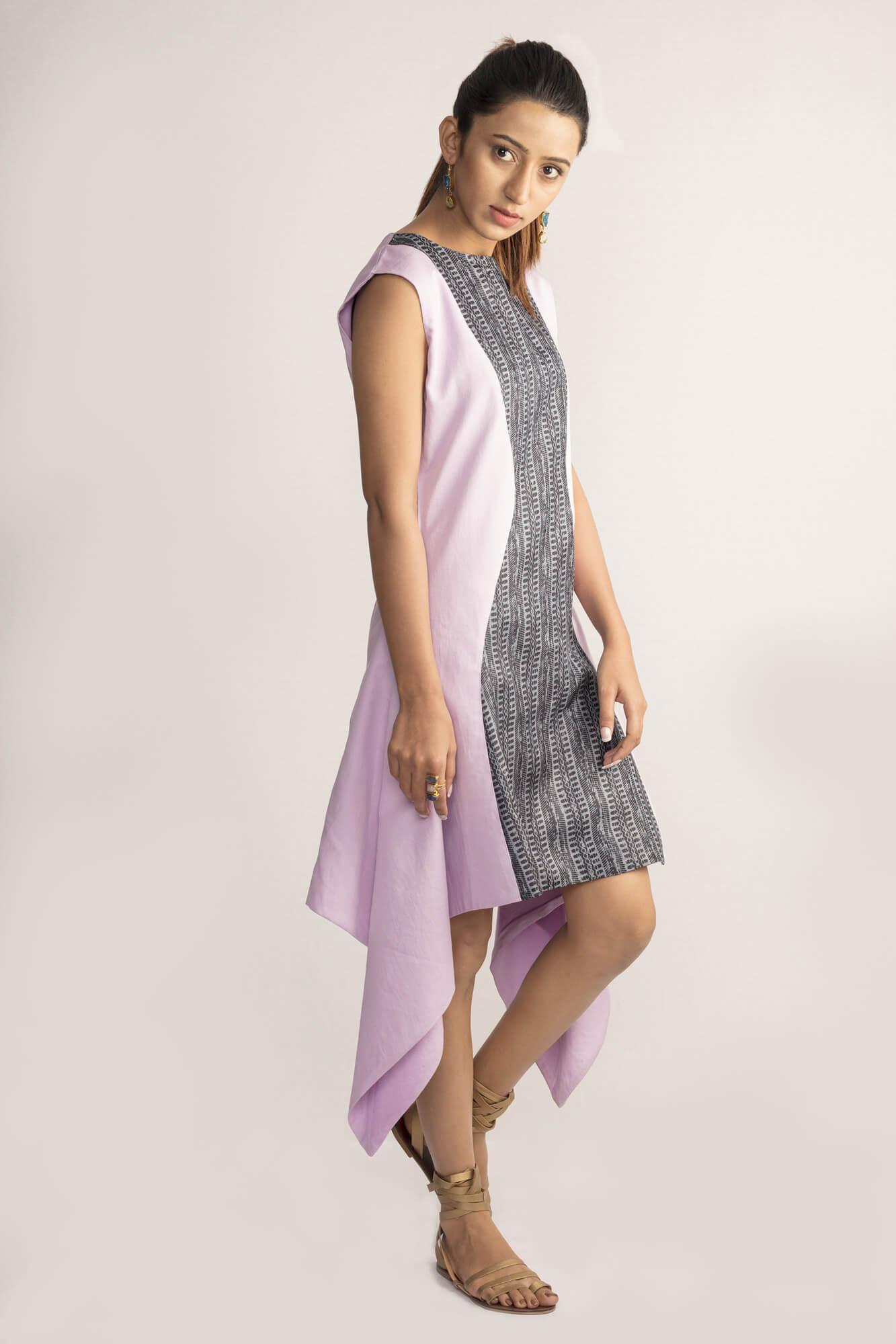 Evensong Asymmetrical Tussar Silk Dress By TAMASQ