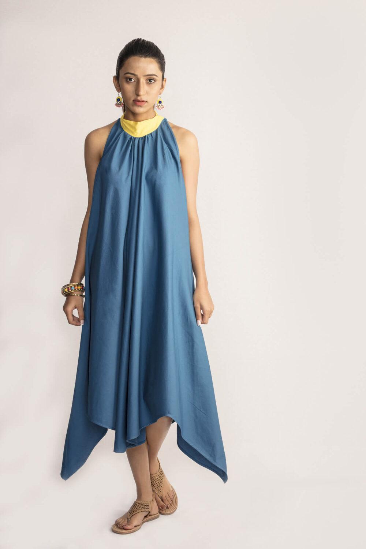 Blue Asymmetrical Dress By TAMASQ