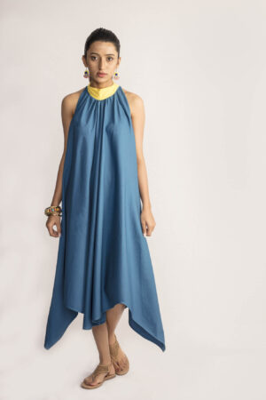 Blue Asymmetrical Dress By TAMASQ
