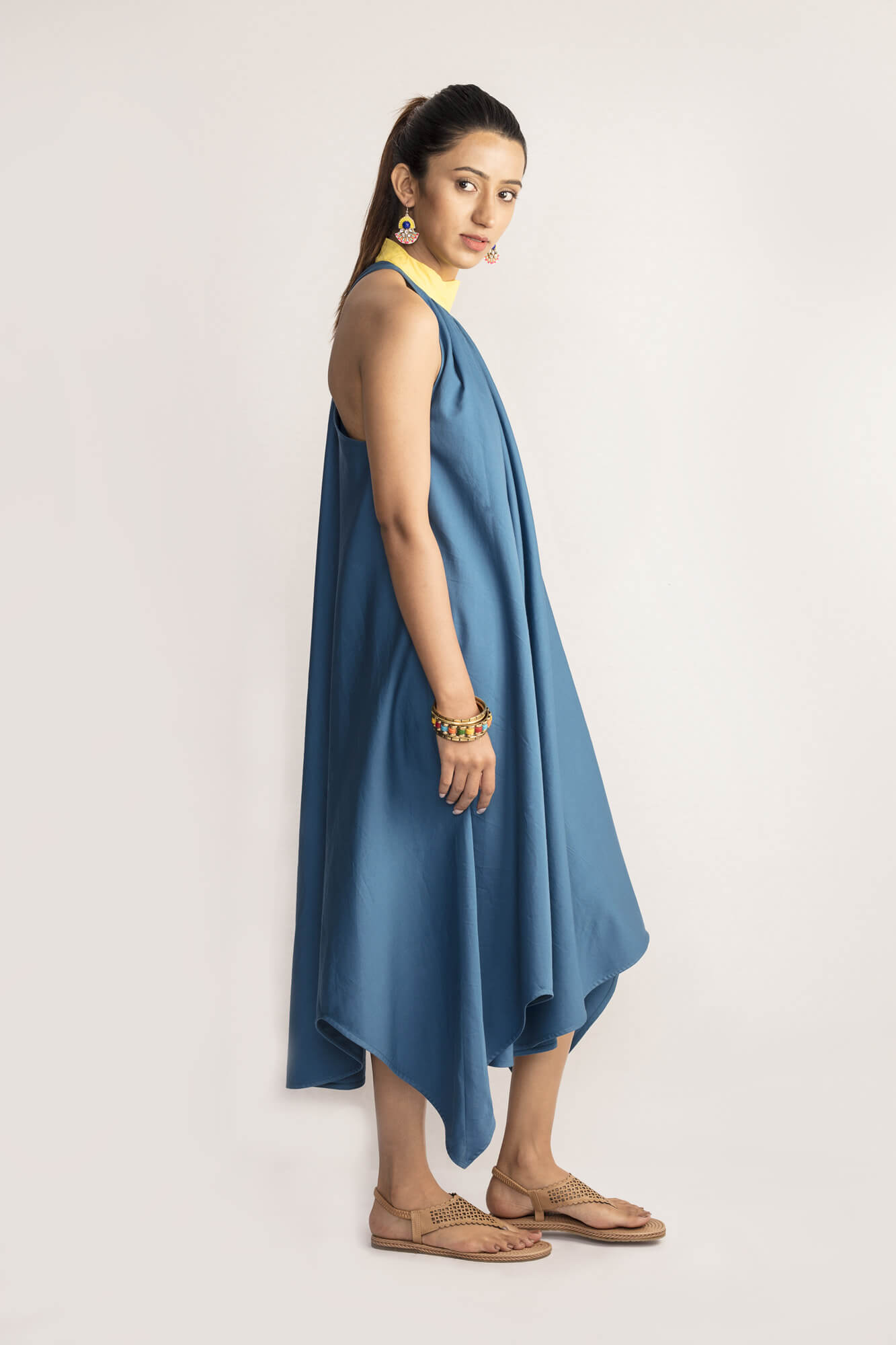 Blue Cotton Asymmetrical Dress By TAMASQ