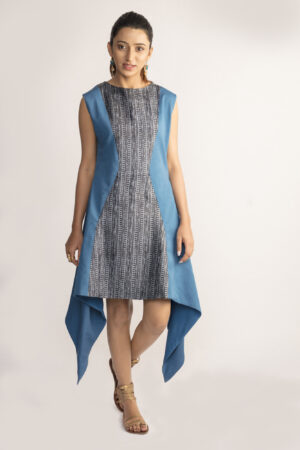 Blue Asymmetrical Tussar Silk Dress By TAMASQ