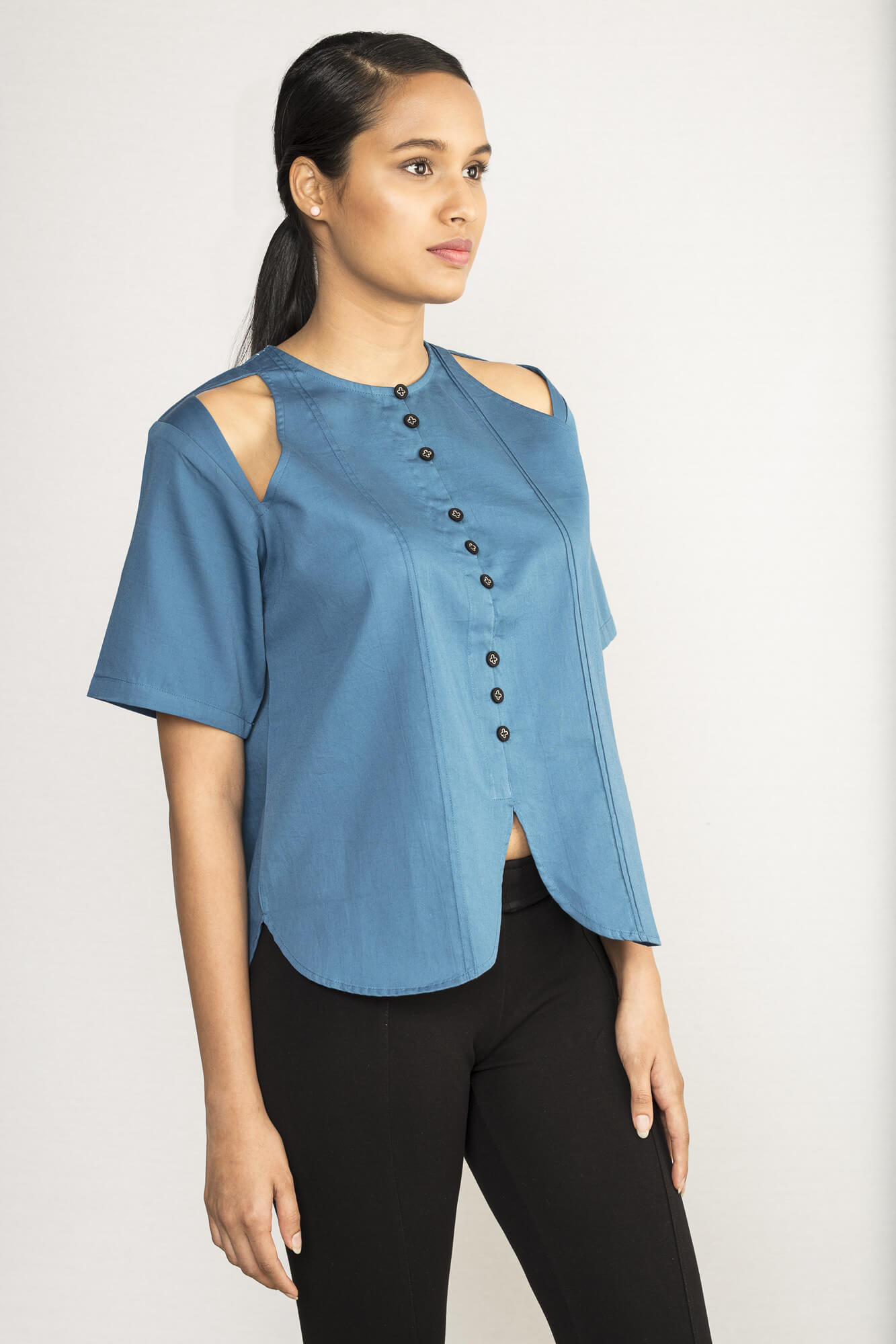 Blue Blouse Top By TAMASQ