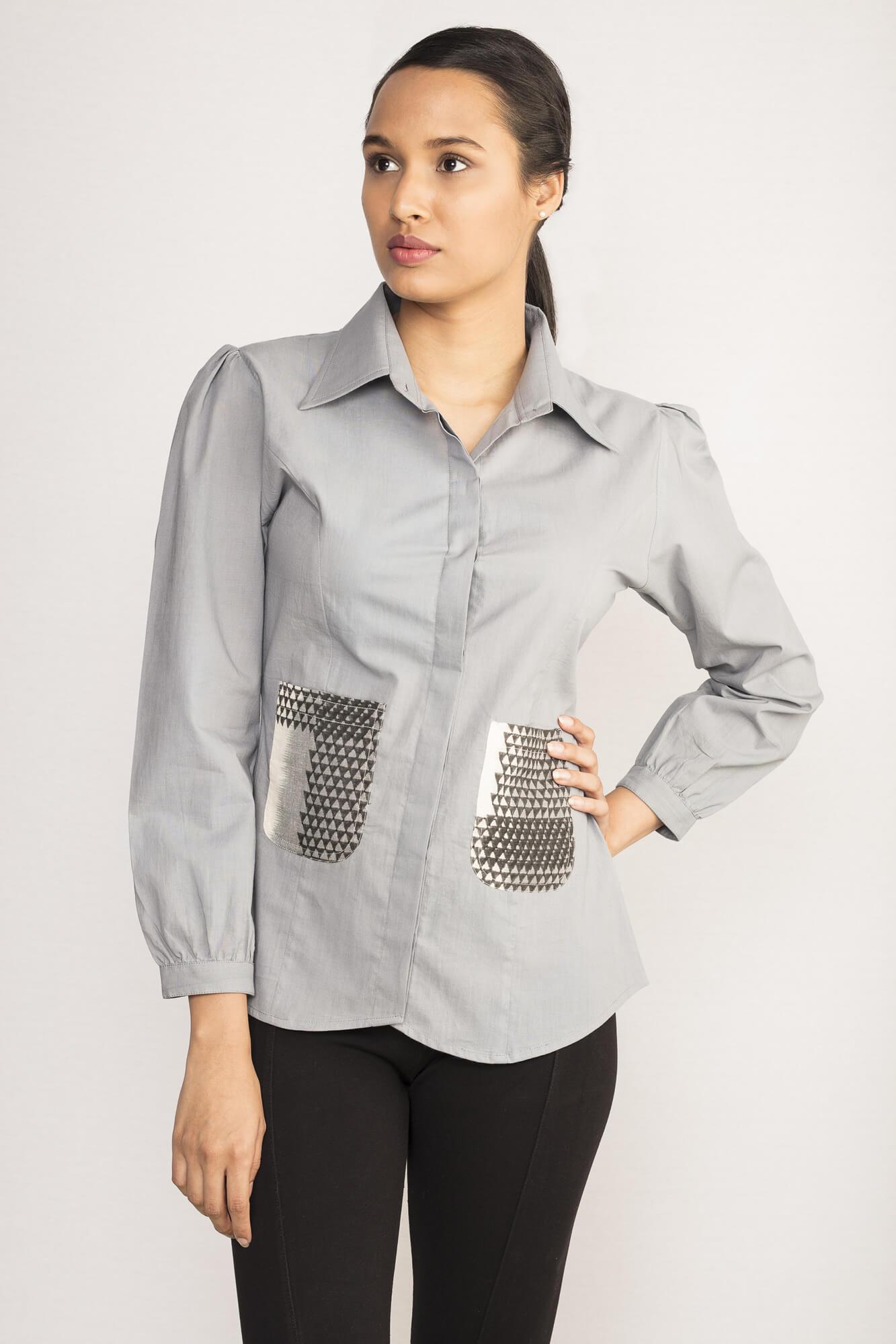 Grey Patch Pocket Shirt By TAMASQ