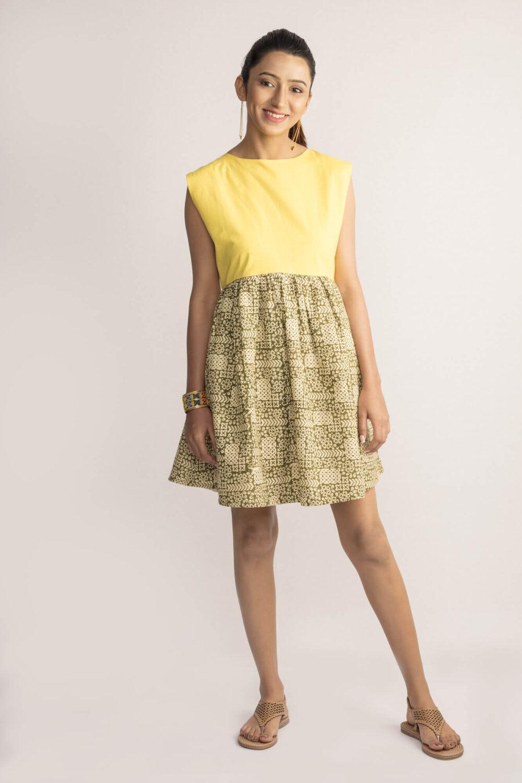 Yellow Sleeveless Bagru Dress By TAMASQ