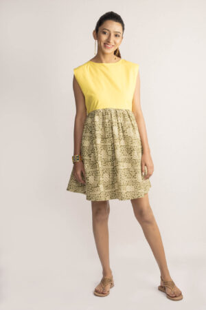 Yellow Sleeveless Bagru Dress By TAMASQ