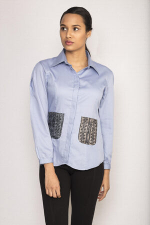 Lavender Patch Pocket Shirt By TAMASQ