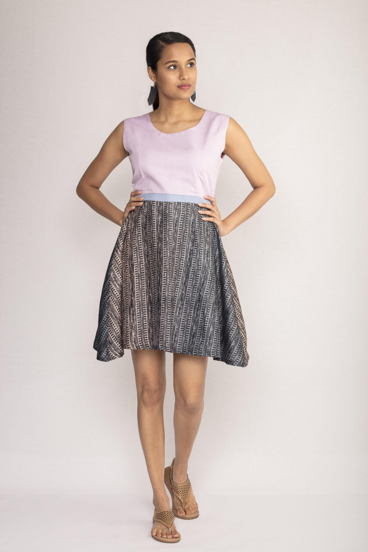 Lilac Tussar Silk Skater Dress By TAMASQ