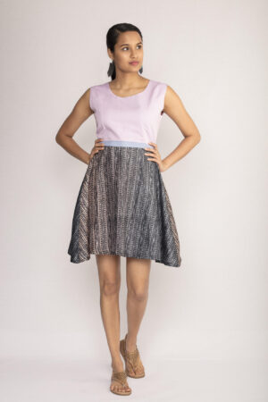 Lilac Tussar Silk Skater Dress By TAMASQ