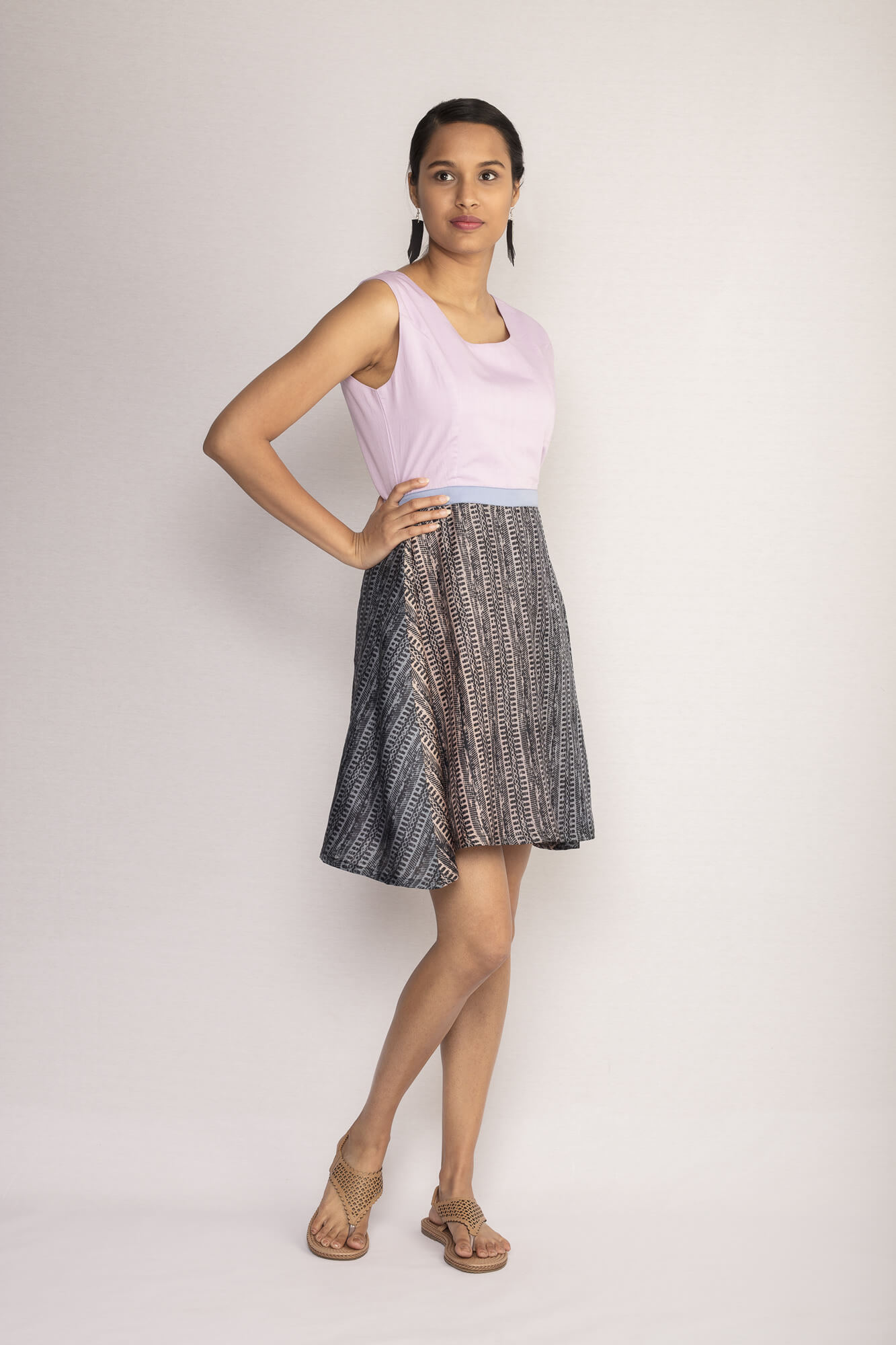 Hand Block Printed Skater Dress By TAMASQ