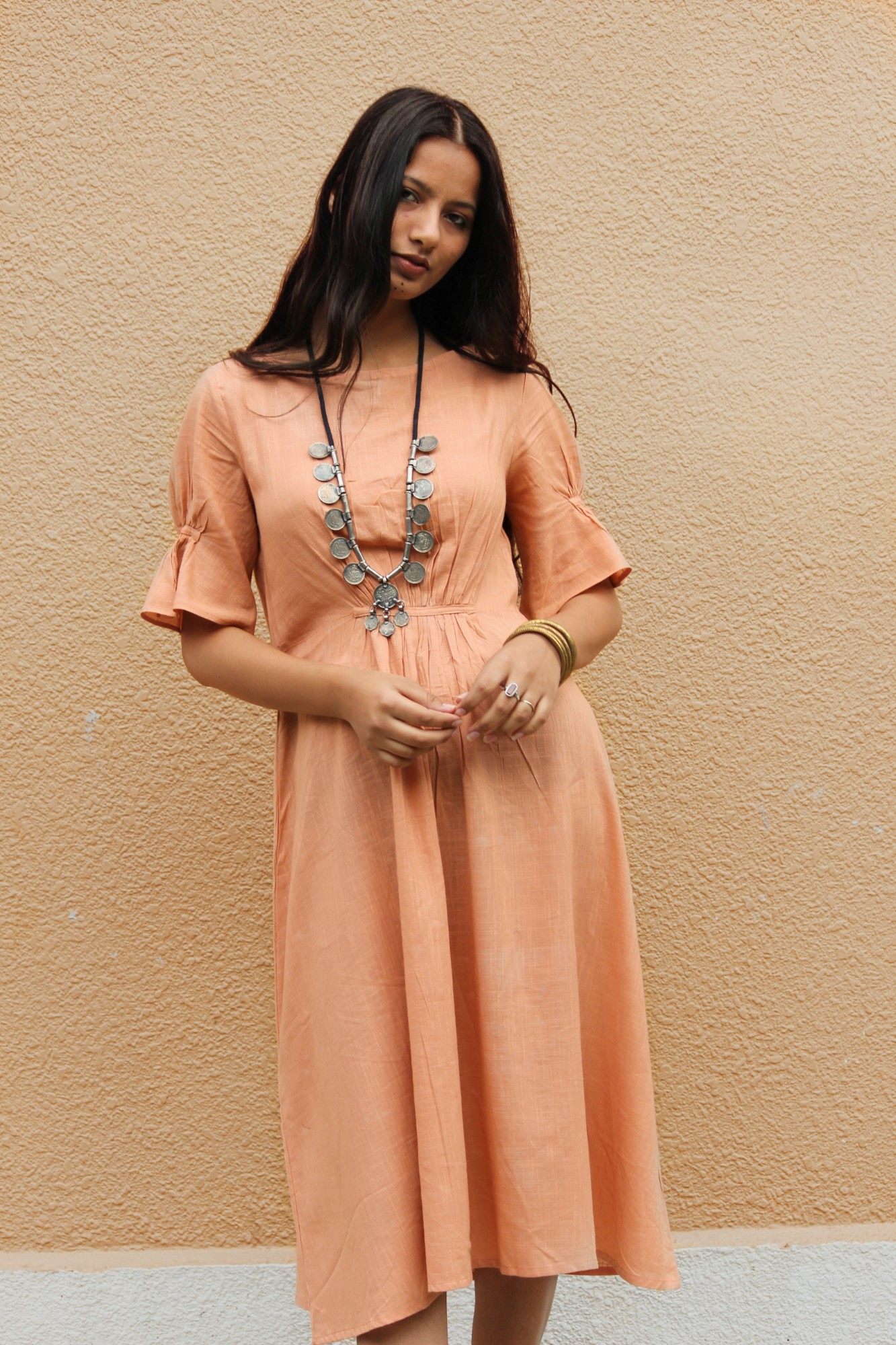 Peach Cinched Cotton Midi Dress By TAMASQ