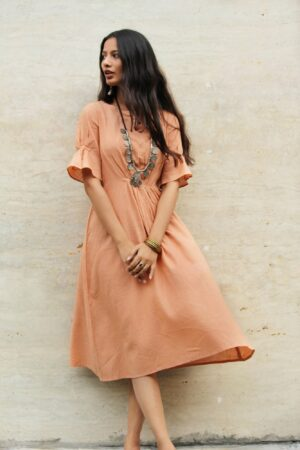 Peach Cinched Cotton Long Dress By TAMASQ